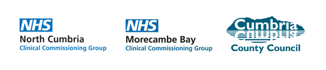 Logos for North Cumbria CCG, Morecambe Bay CCG and Cumbria County Council
